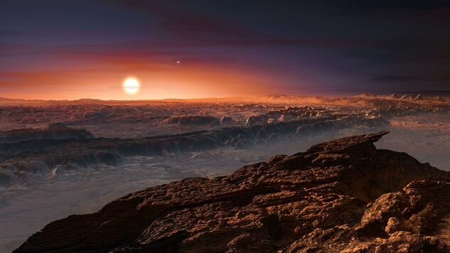 "A hand out image made available by the European Southern Observatory on August 24 2016, shows an artist's impression of a view of the surface of the planet Proxima b orbiting the red dwarf star Proxima Centauri, the closest star to the Solar System. The double star Alpha Centauri AB also appears in the image to the upper-right of Proxima itself. Proxima b is a little more massive than the Earth and orbits in the habitable zone around Proxima Centauri, where the temperature is suitable for liquid water to exist on its surface. Scientists on August 24, 2016 announced the discovery of an Earth-sized planet orbiting the star nearest our Sun, opening up the glittering prospect of a habitable world that may one day be explored by robots. Named Proxima b, the planet is in a ""temperate"" zone compatible with the presence of liquid water -- a key ingredient for life. / AFP PHOTO / EUROPEAN SOUTHERN OBSERVATORY / M. Kornmesser Quelle: AFP"