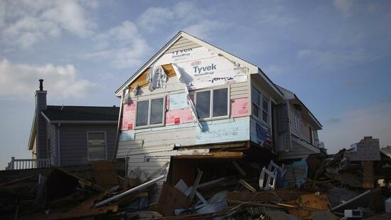 "Ein von Hurrikan ""Sandy"" demoliertes Haus in New Jersey. Quelle: Reuters"