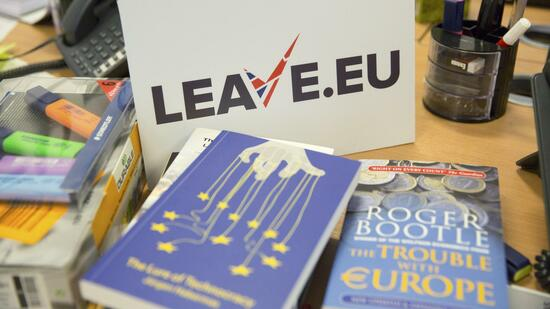 "A sign for pro Brexit group pressure group ""Leave.eu"" is seen in their office in London, Britain"