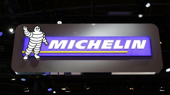 A sign with the logo of French tyre maker Michelin, with a Bibendum, the Michelin Man mascot, is pictured on media day at the Paris Mondial de l'Automobile