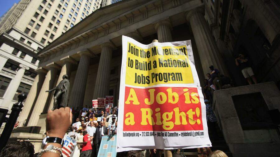 Arbeitslose protestieren in New York. Quelle: Reuters