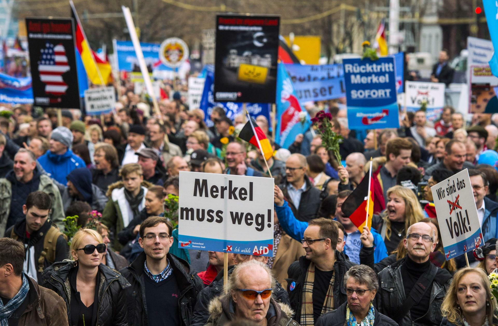 AfD-Protest gegen Flüchtlingspolitik: 5000 Demonstranten fordern Merkels  Rücktritt