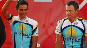 Alberto Contador (l.) und Lance Armstrong. Foto: Bongarts/Getty Images Quelle: SID