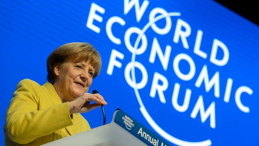 Davos 2018 - Merkel und Macron auf dem Weltwirtschaftsforum