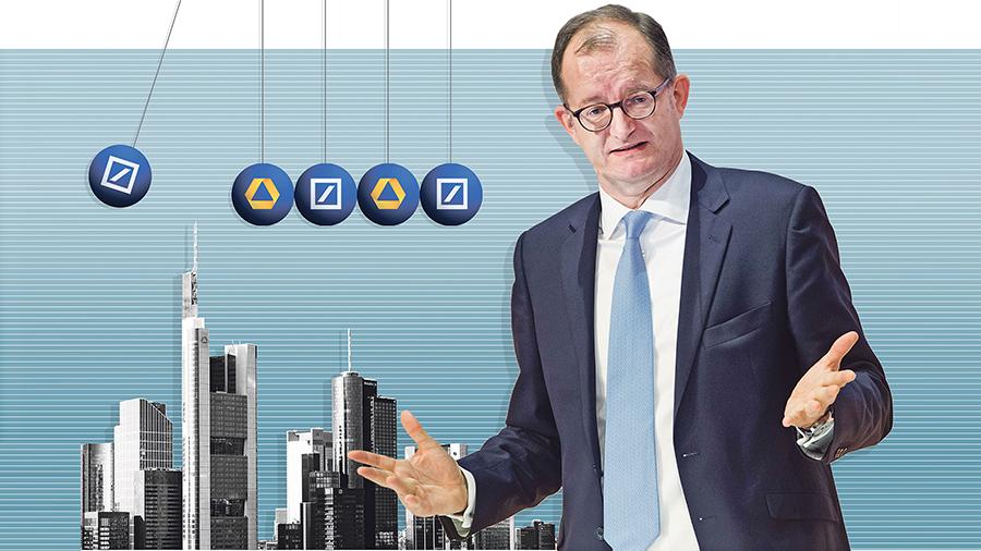 Non sarebbe contrario alla fusione con Deutsche Bank.  Fonte: Illustrazione: Julius Brauckmann, Foto: Marc-Steffen Unger / Euroforum, imago / Westend61 [M]