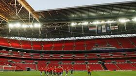 Das Wembley Stadion in London. Foto: AFP Quelle: SID