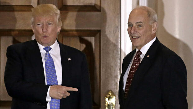 RECROP - epa05664416 (FILE) A file photo dated 20 November 2016 of US President-elect Donald Trump (L) gesturing with retired US Marine Corp General John Kelly standing next to him at the clubhouse of the Trump International Golf Club, in Bedminster Township, New Jersey, USA. Sources close to the president-elect told media on 06 December 2016, that the retired four-star General, a former head of the US military's Southern Command, was chosen by Trump to head the Department of Homeland Security. (zu dpa «Berichte: Trump macht Ex-General Kelly zum Heimatschutzminister» vom 07.12.2016) Foto: Peter Foley/EPA FILES/dpa +++(c) dpa - Bildfunk+++ Quelle: dpa