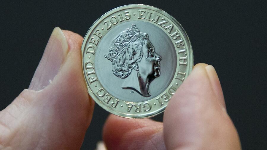 Neue Ein Pfund Münze Fünfzehnjähriger Gestaltet Geldstück
