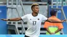 2016 Rio Olympics-Soccer-Preliminary - Men's First Round - Group C Germany v South Korea- Fonte Nova Stadium - Salvador, Brazil 07/08/2016. Serge Gnabry (GER) of Germany celebrates after scoring against Korea REUTERS/Fernando Donasci FOR EDITORIAL USE ONLY. NOT FOR SALE FOR MARKETING OR ADVERTISING CAMPAIGNS. Quelle: Reuters