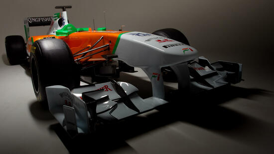 huGO-BildID: 20832425 A Force India Handout dated 08 February 2011 shows the new Formula One car VJM04 for the 2011 season. Photo: Force India Handout - Editorial Use Only +++(c) dpa - Bildfunk+++ Quelle: dpa