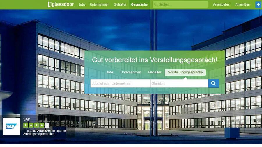 Screenshot der Glassdoor-Website.