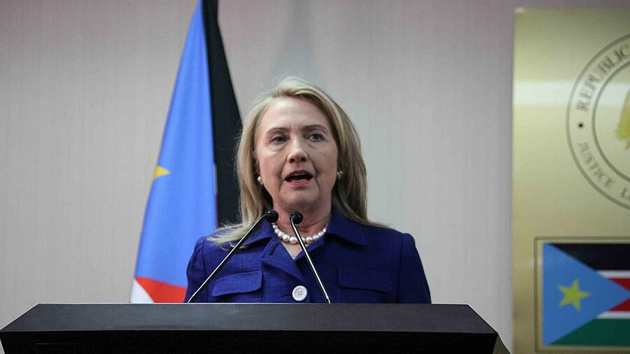 US-Außenministerin Hillary Clinton in Juba, Südsudan. Quelle: AFP