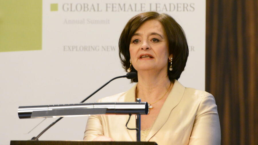 Cherie Blair während ihrer Rede auf dem Global Female Leaders Summit 2014 in Zürich. Quelle: PR