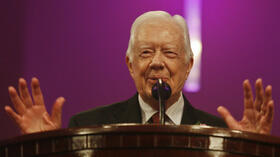 Jimmy Carter in der Mt. Zion Baptist Church in Albany. Quelle: ap
