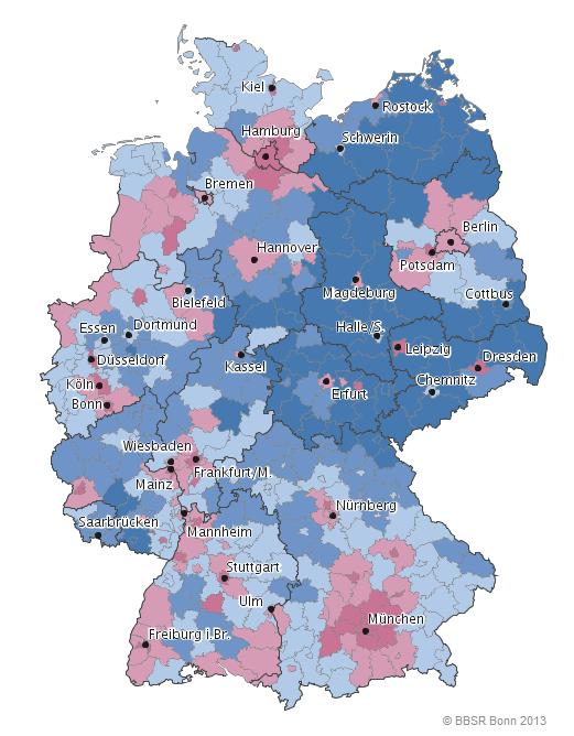 Karte Ruhrgebiet Städte.Volle Städte Leeres Land