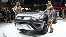 Models pose next to Ssangyong XAVL Concept car during the 87th International Motor Show at Palexpo in Geneva, Switzerland, March 7, 2017. REUTERS/Arnd Wiegmann Quelle: Reuters
