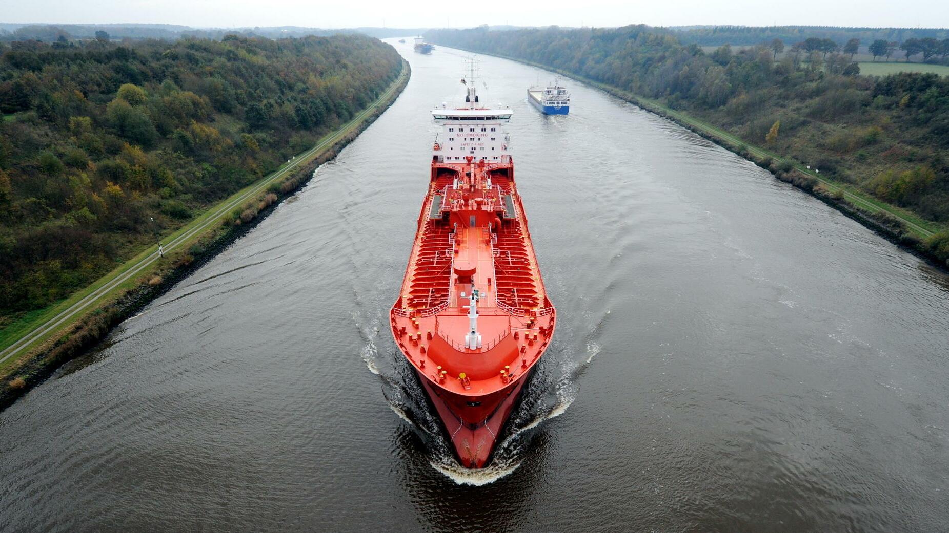 Verkehr: Weniger Schiffe auf dem Nord-Ostsee-Kanal