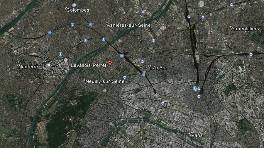 Ein Google Earth-Screenshot zeigt den Pariser Vorort Levallois-Perret bei Paris. Quelle: dpa