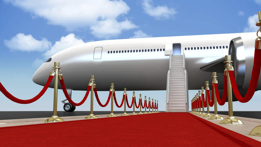 Red carpet laid down for an important guest at the airport. Slight depth of field on the far side. High resolution 3D rendering.Similar images: