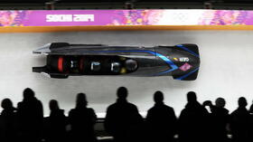 huGO-BildID: 35544372 epa04096327 Maximilian Arndt, Marko Huebenbecker, Alexander Roediger and Martin Putze of Germany in action during the four-man Men's Bobsleigh Heat 1 competition in Sliding Center Sanki at the Sochi 2014 Olympic Games, Krasnaya Polyana, Russia, 19 February 2014. EPA/TOBIAS HASE +++(c) dpa - Bildfunk+++ Quelle: dpa
