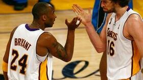 Starkes Duo: Kobe Bryant (l.) und Pau Gasol von den Los Angeles Lakers. Foto: Bongarts/Getty Images Quelle: SID