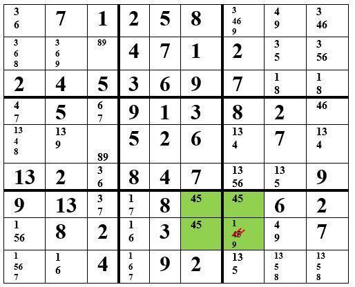 Sudoku-Strategie Sehr schwer: Das verbotene Rechteck Typ I
