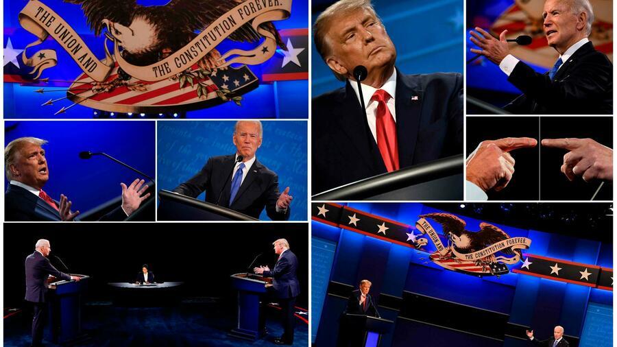 Donald Trump und Joe Biden auf der Bühne. Quelle: AFP