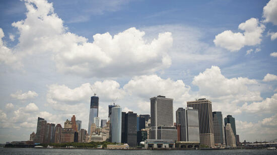 Skyline des Financial Districts in New York: US-Banken sind bei Anlegern wieder beliebt. Quelle: Reuters