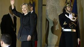 US-Außenministerin Hillary Clinton am Elysee Palast in Paris. Quelle: Reuters