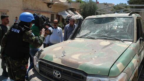 UN-Blaumhelme in Damaskus. Quelle: dpa