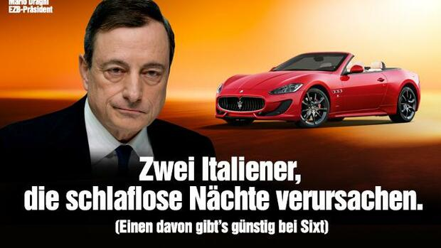 Provokative Sixt-Werbung mit Mario Draghi. Quelle: Screenshot