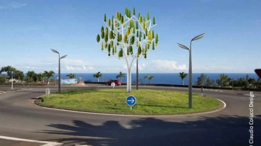 Windbaum produziert fast geräuschlos Strom