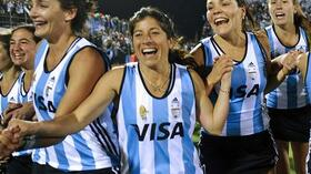 WM-Gold: Jubel bei Argentiniens Hockey-Frauen. Foto: SID Images/AFP Quelle: SID